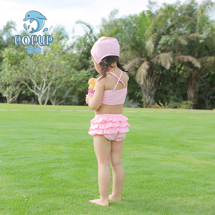 Popup Pink Multilayer Lace Bow Baby GIRL'S Two-piece Swimsuits All Show Slim Waist