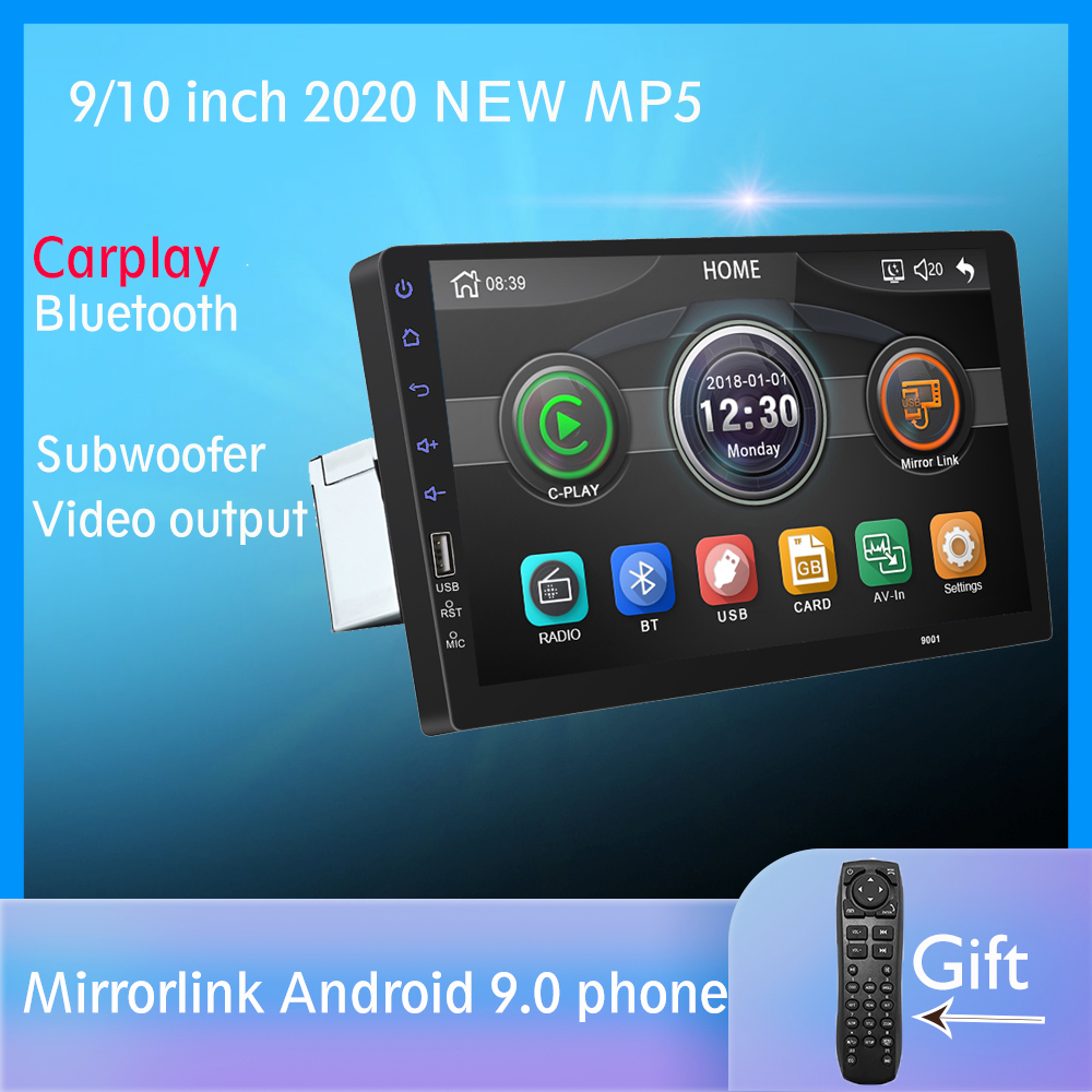 Built-in Carplay Mirror link Android 9.0 2din Car radio 9 inch Bluetooth USB Rear View Camera MP5 Player One Din Autoradio image