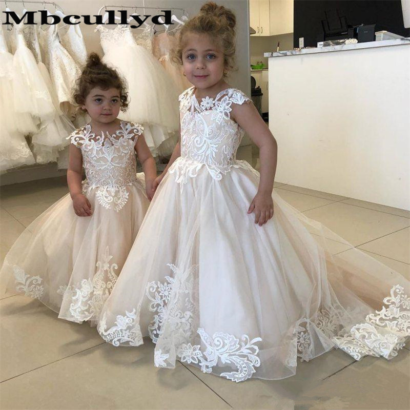 Mbcullyd Champange   Flower     Girl     Dresses   2020 Ball Gowns Princess Wedding Pageant   Dress   Formal vestidos de primera comunion