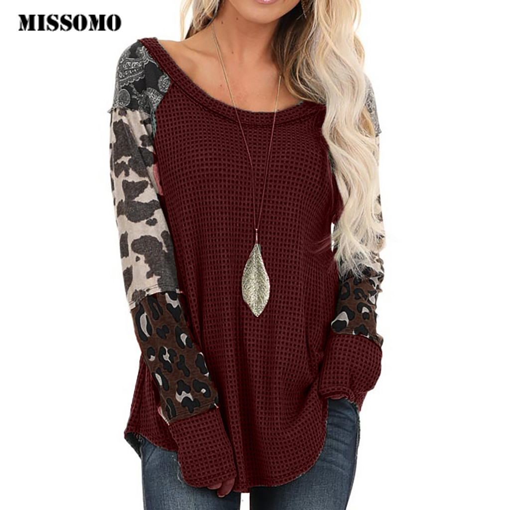 MISSOMO Knit Sweater Women Ladies Leopard Print Patchwork Long Sleeve Pullover Winter Clothes Women Tops Pull Femme Hiver Sweter
