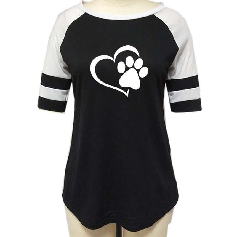 Love Dog Paw Print Top Shirt Women 16