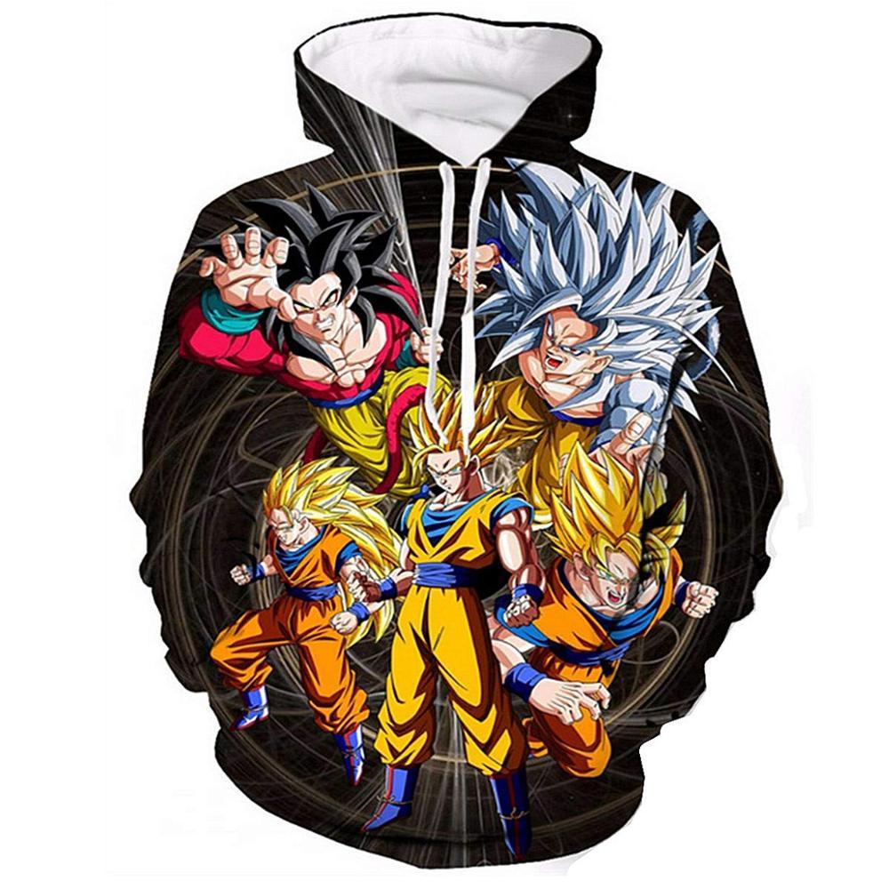 Anime Dragon Ball Hoodie Men 3D Sweatshirts Super Saiyan Goku Printed Hooded Pullover Teen Fashion Cartoon Hoody Streetwear