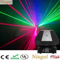 Cor RGB Movendo Luz Laser Cabeça Lente 9 DMX512/Auto/Efeito Luzes Do Palco Feixe de Som Bom Para DJ festa Discoteca Casa Clube Show de Laser