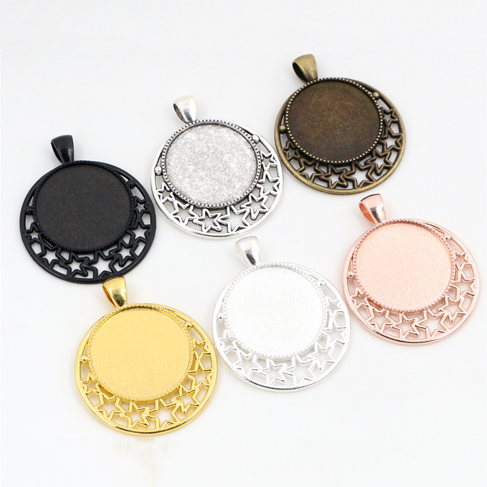 High Quality 5pcs 25mm Inner Size 6 Colors Plated  Cameo Base Setting Stars Style Pendant