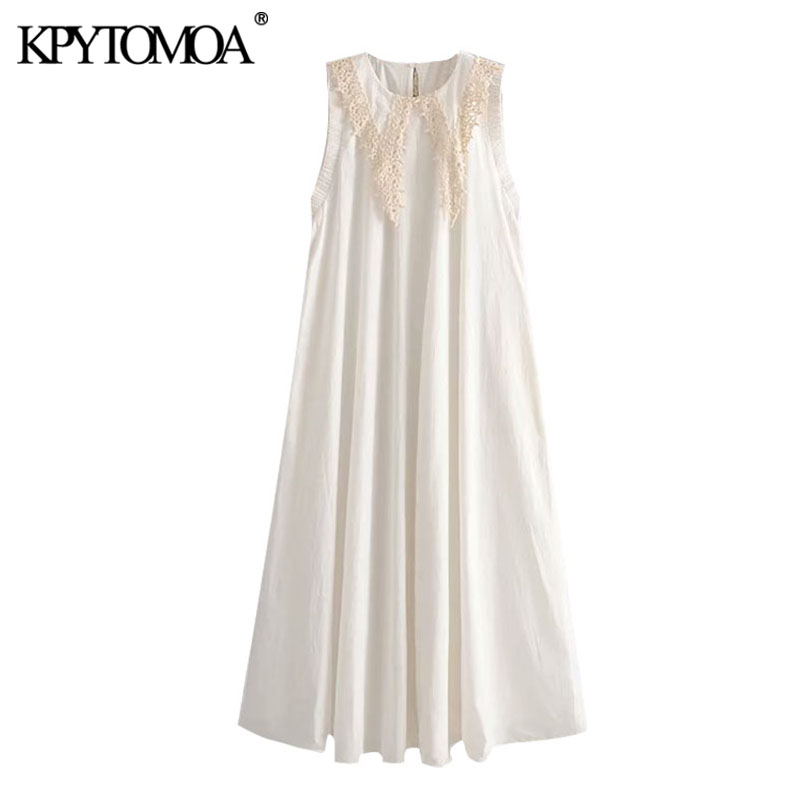 KPYTOMOA Women 2020 Chic Fashion Embroidery Sleeveless Midi Dress Vintage O Neck With Lace Trim Female Dresses Vestidos Mujer