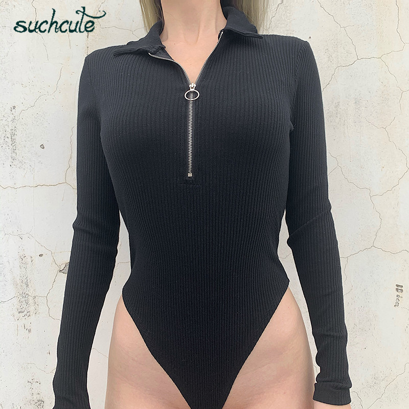 SUCHCUTE Knitting Overalls Body For Women Bodycon Bodysuits Full Sleeve Casual Warm Autumn Winter 2019 Rompers Female Jumpsuits
