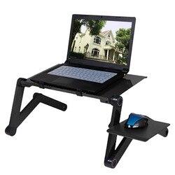 Regulowane aluminiowe biurko na laptopa ergonomiczne łóżko TV Lapdesk Tray PC Notebook stół stojak na biurko z podkładką pod mysz z wentylatorem chłodzącym