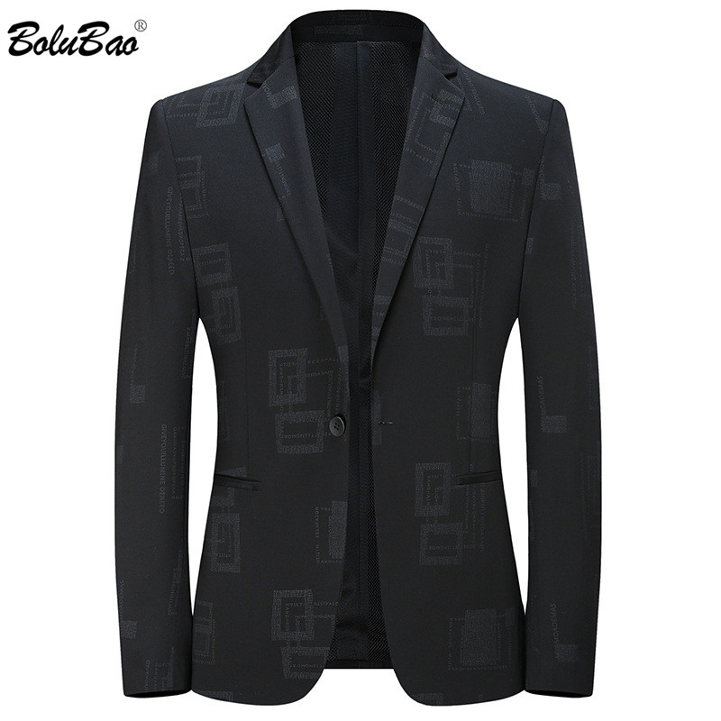 BOLUBAO Brand Men Casual Blazers Spring Autumn New Men's High Quality Elastic Business Suit Slim Fit Knitting Black Blazers Male