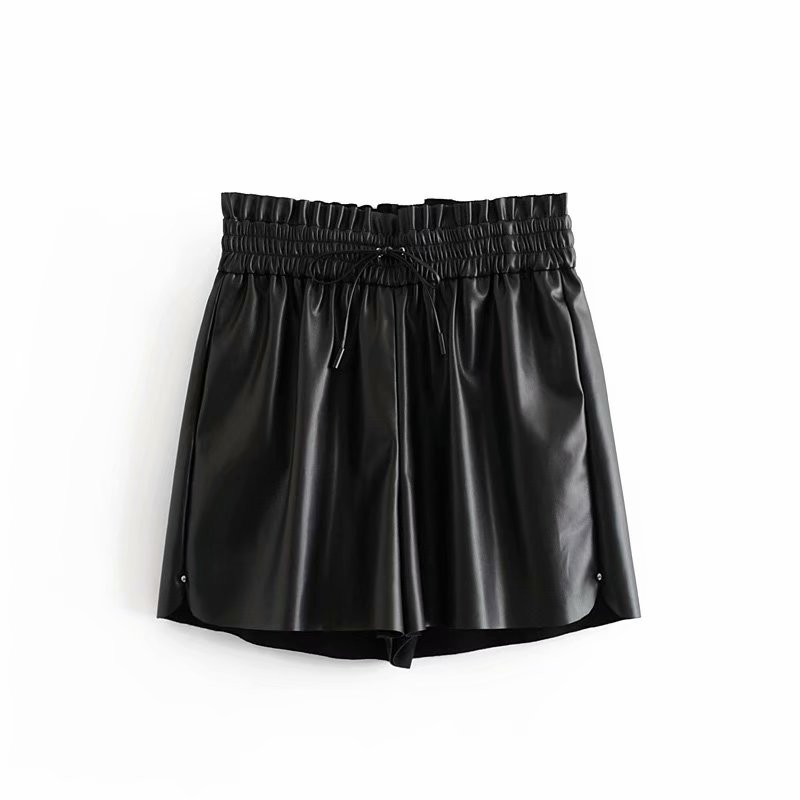2019 Women Vintage PU Leather Casual Black Shorts Ladies Elastic Waist Lace Up Chic Hot Shorts Leisure Pantalones Cortos P556