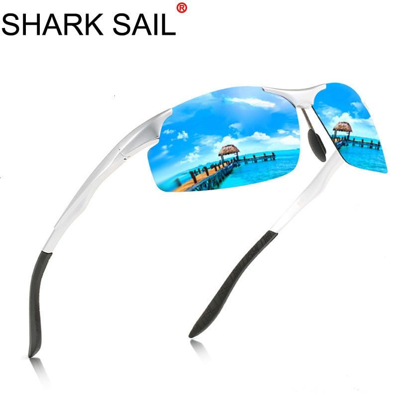 SHARK SAIL Design Aluminum Magnesium Sunglasses Polarized Men Semi Rimless Coating Mirror Sun Glasses Male Eyewear Accessories