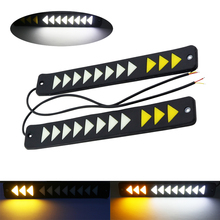цены 1pair DRL LED Flexible Daytime Running Lights 12V Waterproof COB Chip White Yellow Dual color Turn Signal Driving Light For Cars