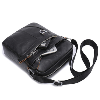 Vintage Leather Bags for Man Genuine Leather Crossbody Bag Men Casual Single Shoulder Bag Male Small Men's Messenger Bags bullcaptain new men bag genuine leather man brand crossbody shoulder bag small business bags male messenger leather bags