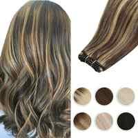 Moresoo Hair Weft Human Hair Extensions Brazilian Machine Remy Natural Straight Weaving 100g Per Sew in Human Hair Bundles