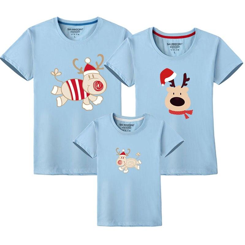 Семейный костюм для папы, мамы и ребенка; одинаковые рождественские комплекты для семьи; футболка для мамы и дочки; одежда с короткими рукавами для папы и сына - Цвет: Sky Blue
