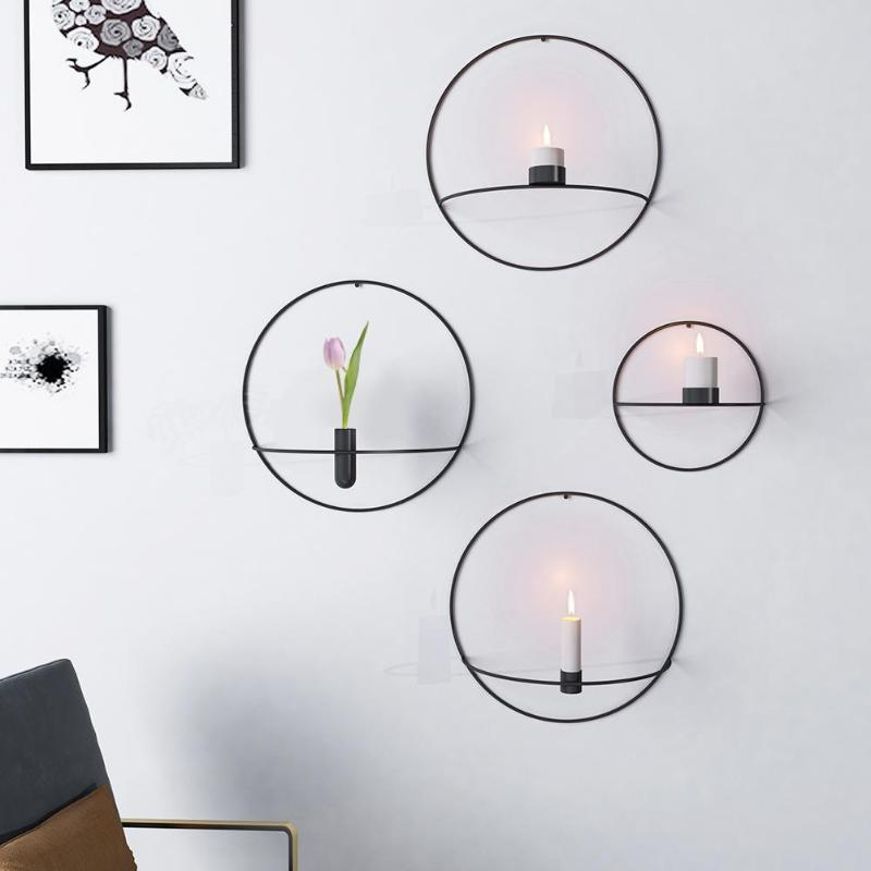 Circle Candle Holder Wall Mounted Europe 3D Metal Candlestick Geometric Tea Light Home Decor Crafts Wedding Decoration Baby Safe