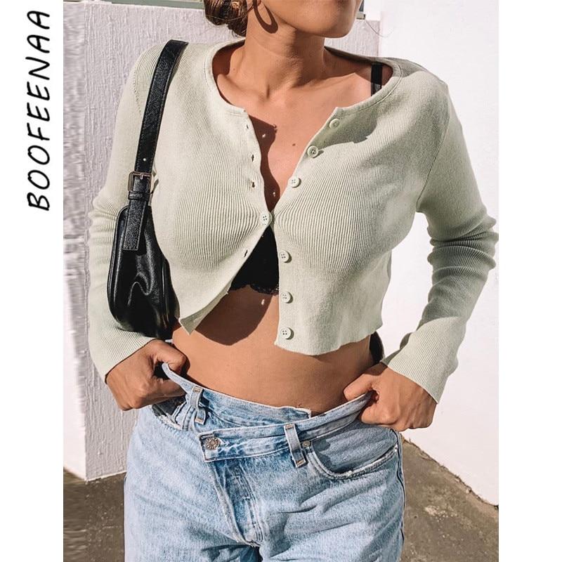 BOOFEENAA Cropped Cardigan Women Clothes 2020 White Mint Green Cute Long Sleeve Crop Top Knit Button Up Cardigan Top C70-AZ08