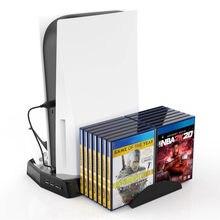 Tropfen Verschiffen Für PS5 Multi-Funktion Lade Lüfter Basis + Spiel Disc Lagerung Tablett + Griff Basis Ladegerät halterung Fan Halter