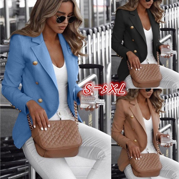 Long-sleeved, Double-breasted, Solid-colored Stand-collar Suits Sold In The Fall Blazer Feminino  Women Blazers And Jackets
