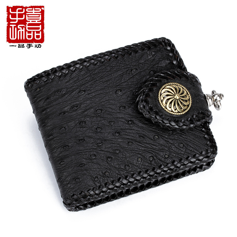 Luxury ostrich leather wallet retro cool leather wallet high-capacity multi-card high-end custom bag