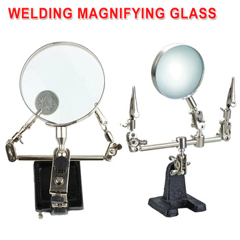 цена на Third Hand Soldering Iron Stand Helping Clamp Magnifying Glass 2 Alligator Clip for Electronic Appliance Repairing With 5X Lense