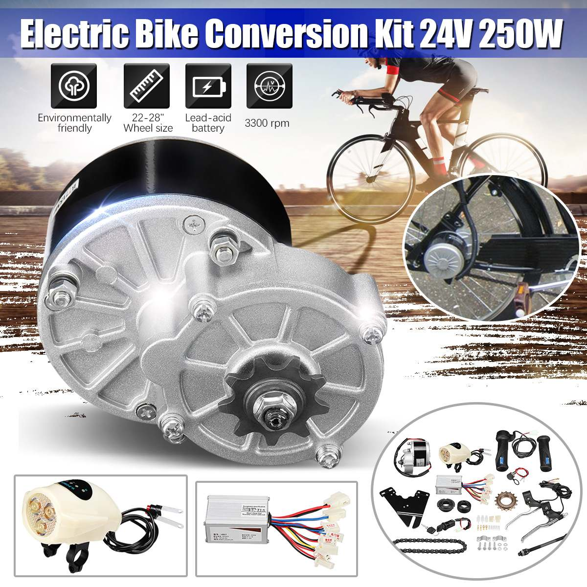 """36V 250W Electric Bike Conversion Motor Controller Kit For 22-28/"""" Common Bicycle"""