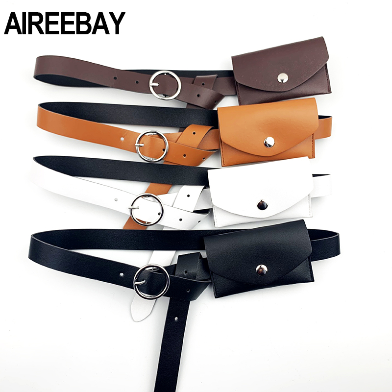 AIREEBAY Women Waist Belts Bags Leather Ladies Waist Pack  Women Dress Skirt Decoration Small Fanny Pack