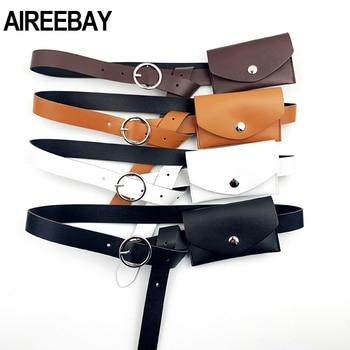 AIREEBAY Women Waist Belts Bags Leather Ladies Pack  Dress Skirt Decoration Small Fanny - discount item  30% OFF Women's Handbags
