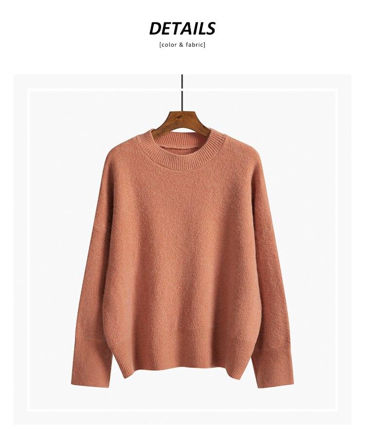 2020 Новый Однотонный свитер с круглым вырезом