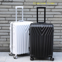 VESCOVO 2022242629Inch Aluminium Frame Rolling Luggage Trolley Travel Bag Women Boarding Carry On Suitcases Trunk