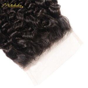 Image 5 - Nadula cabelo 4*4 fechamento do laço parte livre/parte do meio culry cabelo fechamento do laço brasileiro remy fechamento do cabelo humano natural preto