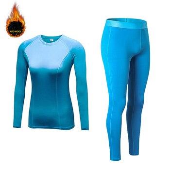 New Women's Set Winter Thermal Fleece Sportsuits Long Sleeve Running T-shirts+Warmer Pants Add Wool Sportswear Sleepwear Set 1