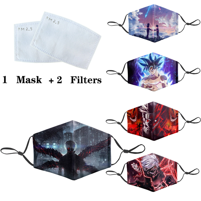 Japanese Anime 3D Masks Protective PM2.5 Filter Mouth-Muffle Dragon Ball Mask Anti Dust Face Mask Bacteria Proof Flu Mask 1