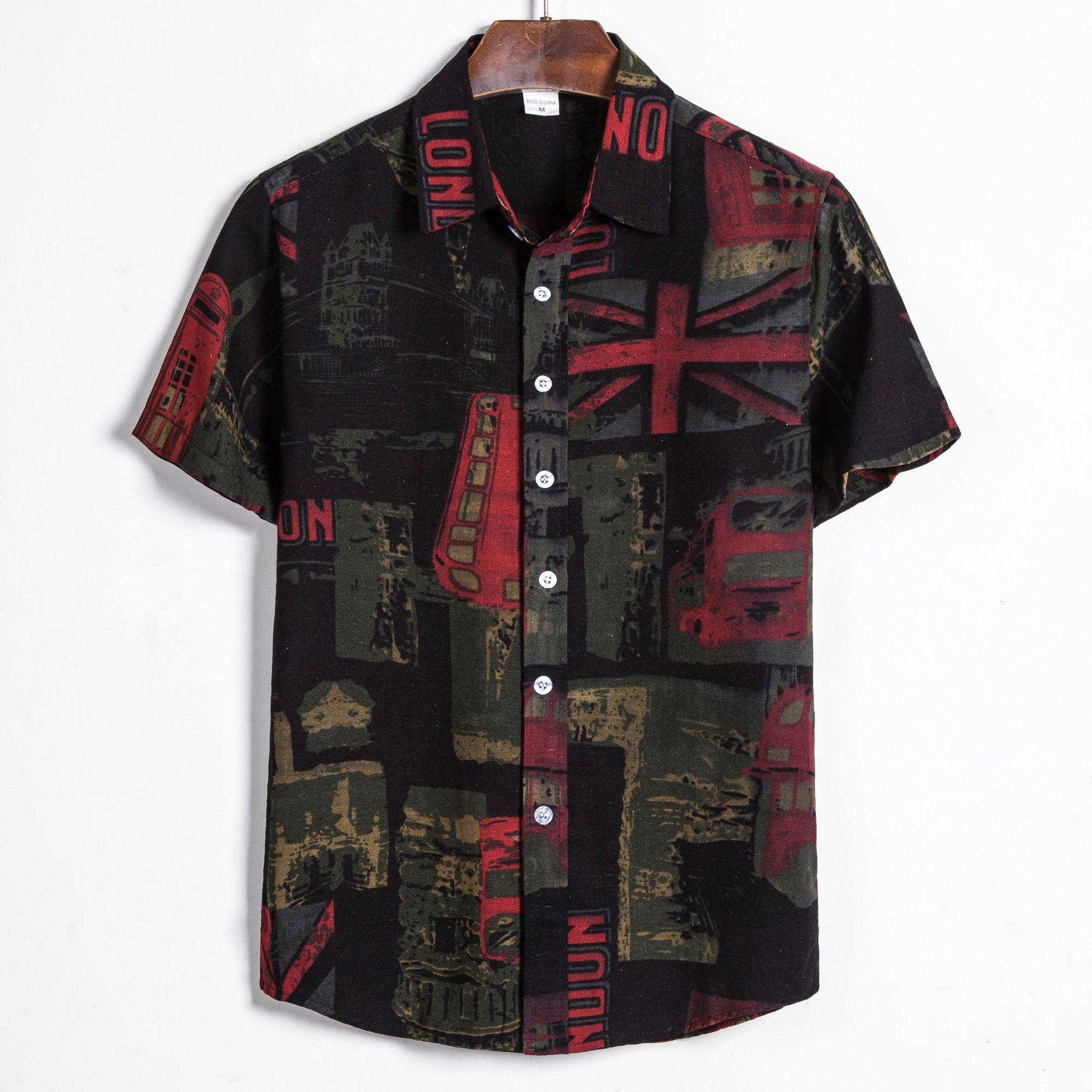 Printing Men's Wear Short Sleeve Male Flower Shirt Shivering Men's Short Sleeve Shirt