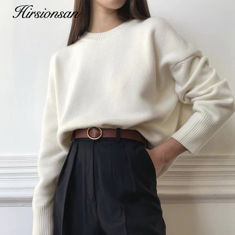 Hirsionsan Winter Oversized Sweater Women 2020 Elegant Knitted Basic Pullovers O Neck Loose Soft Female Cashmere Jumper