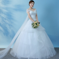 Bride Wedding Dress Style Shoulder Princess Light Wedding Dresses Ball Gowns Bridal Lace Up Dress