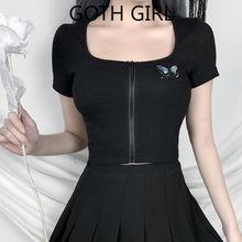 Женская облегающая футболка goth girl короткий кардиган с коротким