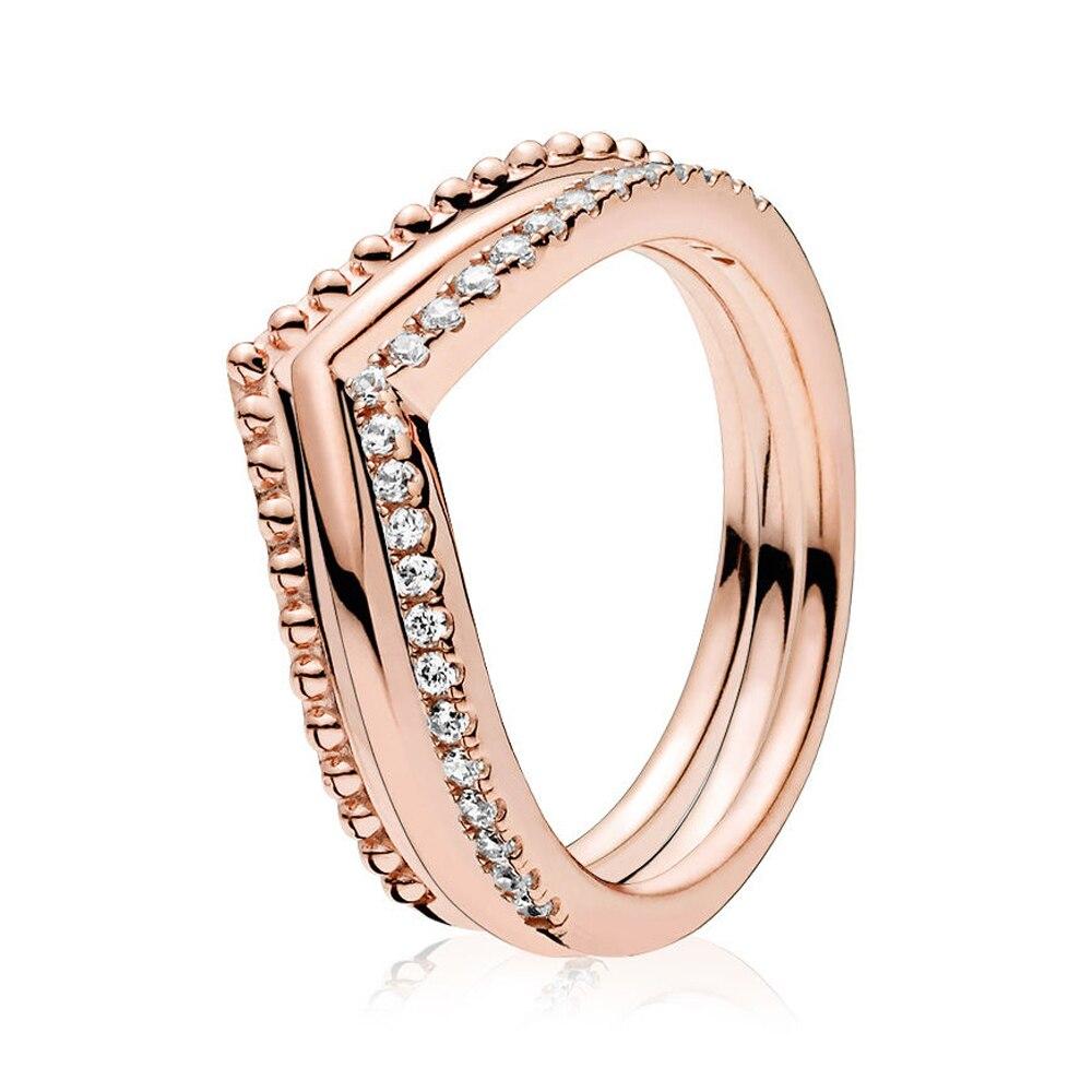 2018 nouveau 100% 925 en argent Sterling Rose souhait os anneau pile or Rose bague de mariage pour la mode femmes cadeau bijoux