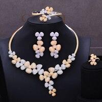 GODKI Charms 4Pc Choker Necklace Sets Luxury Nigerian Dubai Jewelry Sets For Women Cubic Zircon Wedding Bridal Jewelry Sets 2019