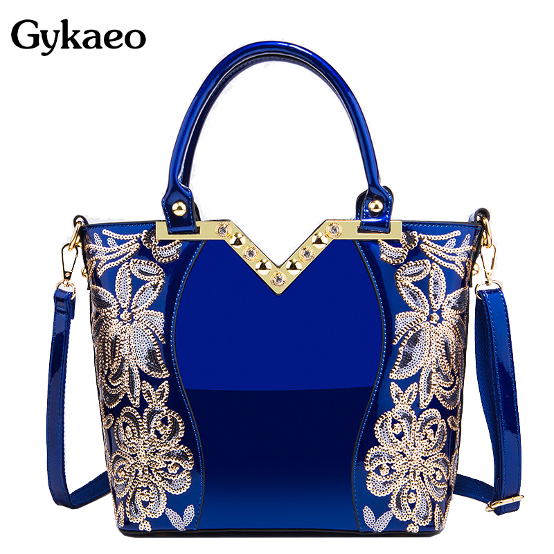 Gykaeo 2019 European And American Style Embroidered Floral Tote Bag Ladies Blue Patent Leather Messenger Shoulder Bag Sac A Main