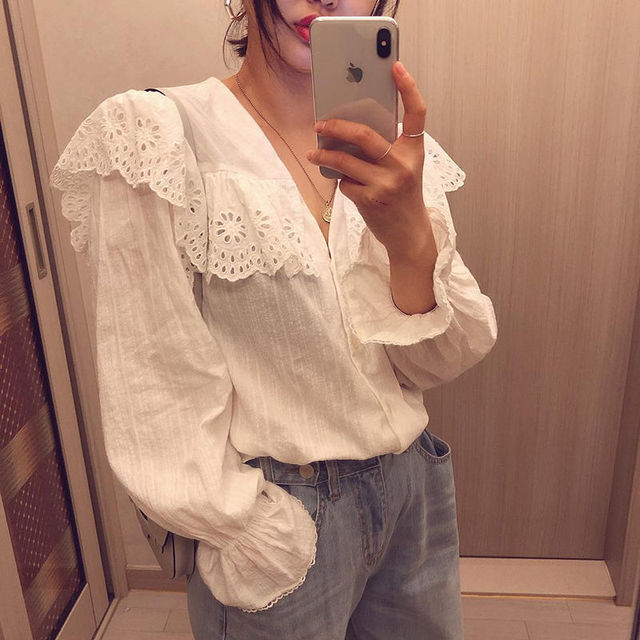 SLLSKY 2020 Spring Lady's Lace Patchwork Sweet White Blouse Women Blouses Long Sleeve Elegant Top Women's top Casual Shirts 3