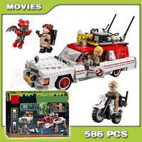 586pcs Ghostbusters Ecto 1 & 2 Movie Police cars 16032 Figure Building Blocks Assemble Children Boys Compatible with Lego