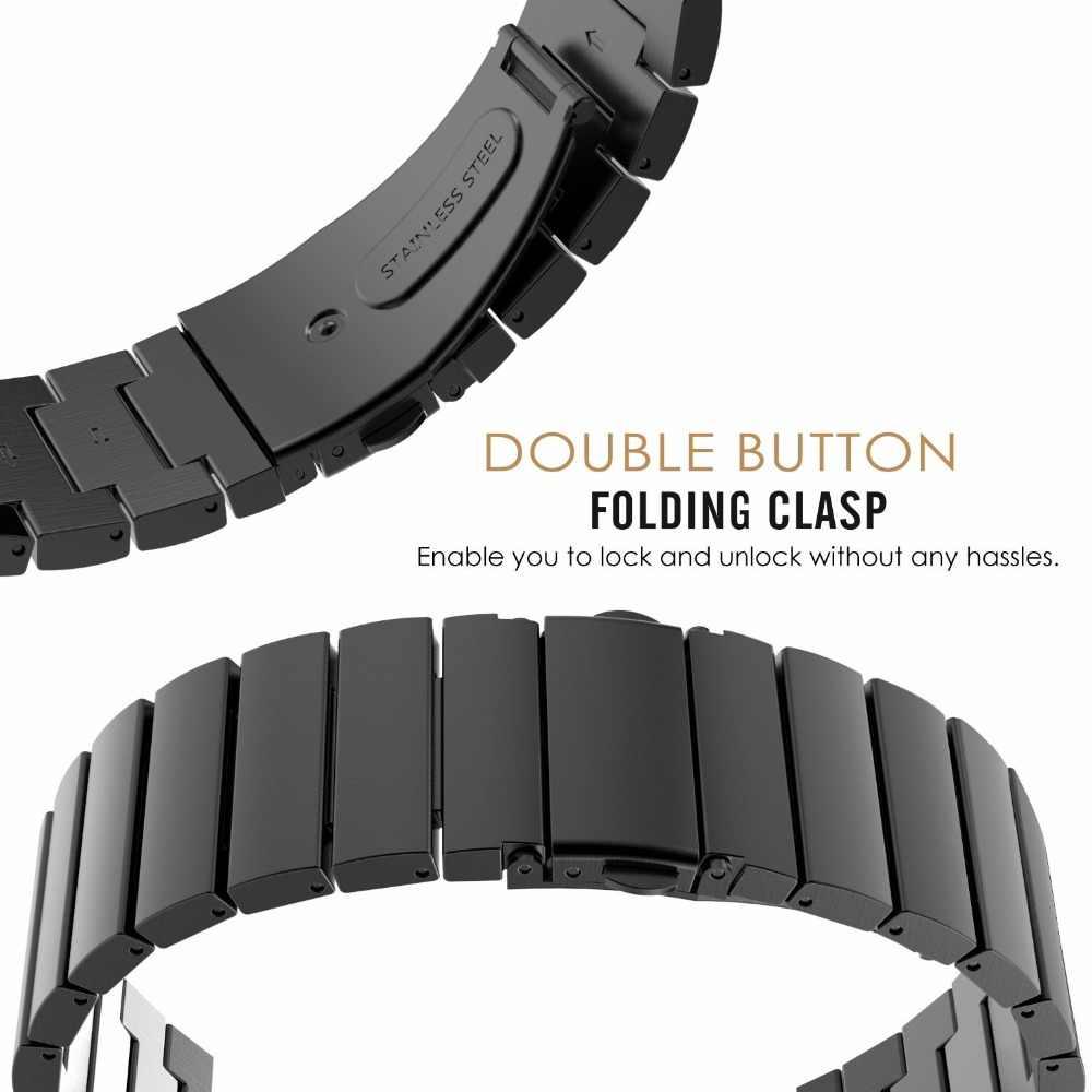 Correa de reloj de acero inoxidable para Samsung Gear S2 Classic S3 reloj 18mm 20mm 22mm reemplazo Universal correa de pulsera de enlace de lujo