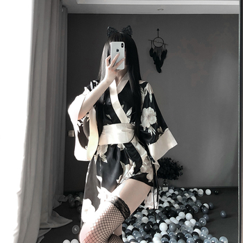 Sexy Sakura Kimono Lovely Japanese Uniform Robe Floral Bathrobe Short Kimono Robe Night Bathrobe Fashion Dressing Gown for Women image