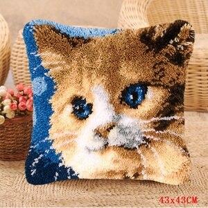 Image 5 - Smyrna almohada con gancho de cierre para alfombras, kit de costura con aguja de lengüeta para alfombra knoopkussen
