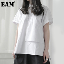 [EAM] Women Black Asymmetrical Big Size Blouse New Lapel Sho