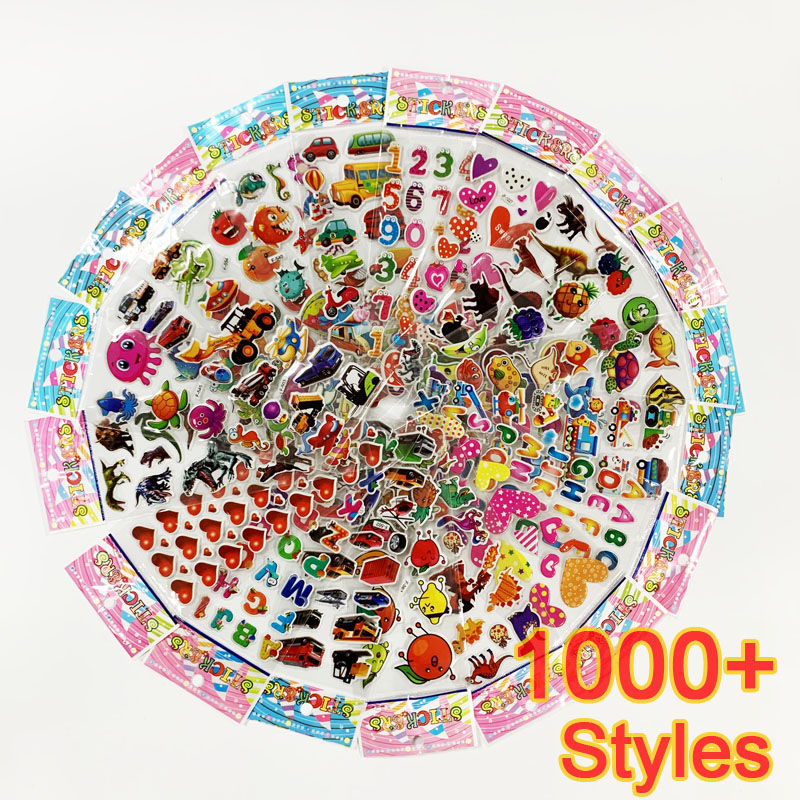 12 Sheets/pack 3D Cartoon Stickers Scrapbooking Waterproof Bubble PVC DIY Sticker Toys Kawaii Princess Car Girls Boys Kids Gift