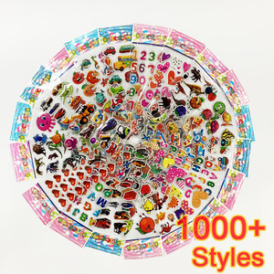 12 Sheets/pack 3D Cartoon Stickers Scrapbooking Waterproof Bubble PVC DIY Sticker Toys Kawaii Princess Car Girls Boys Kids Gift