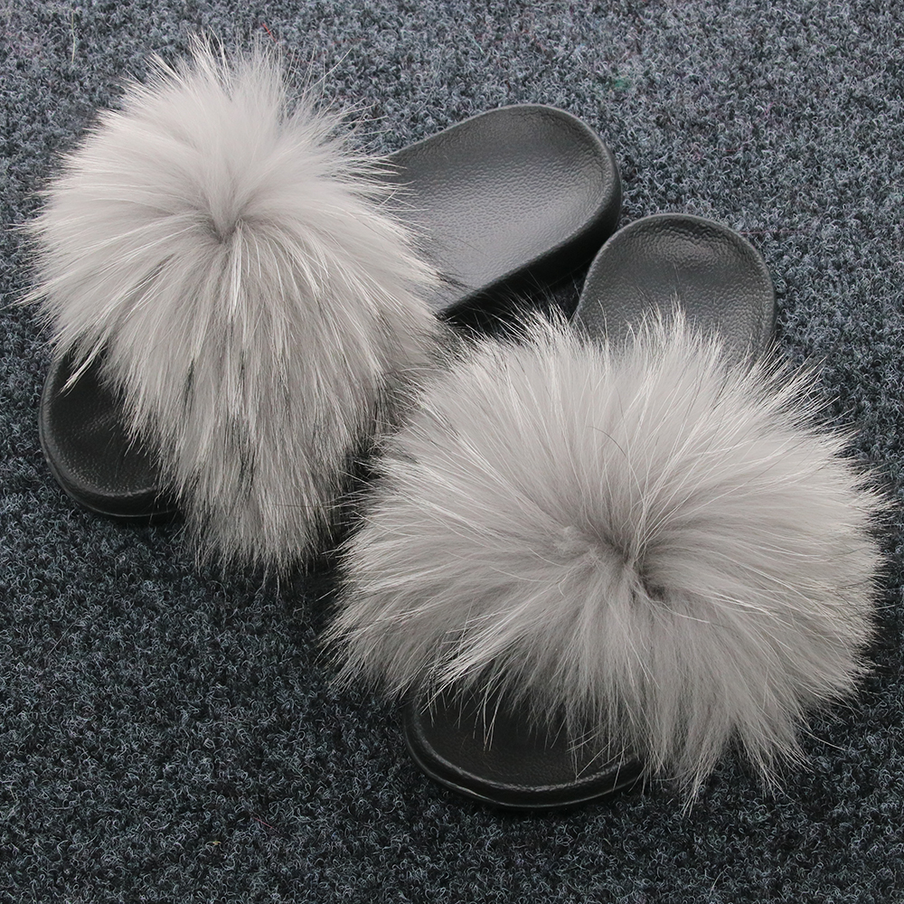 peludo sandálias de guaxinim interior chinelos senhoras moda arco-íris sapatos