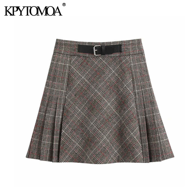 Vintage Stylish Office Wear Pleated Plaid Mini Skirt Women 2020 Fashion A Line With Belt Female Skirts Casual Faldas Mujer