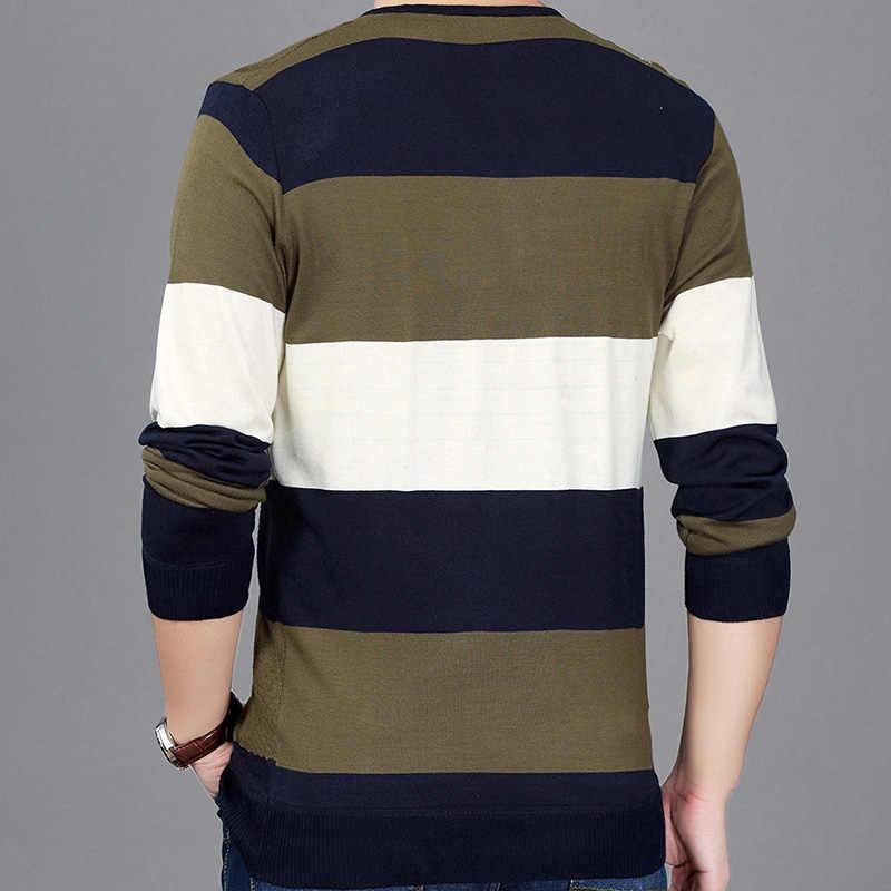 HISTREX di marca a righe lavorato a maglia maglione uomo con scollo a v vestito da usura di lusso mens pullover maglioni di moda uomo sweter Blu Navy Bianco